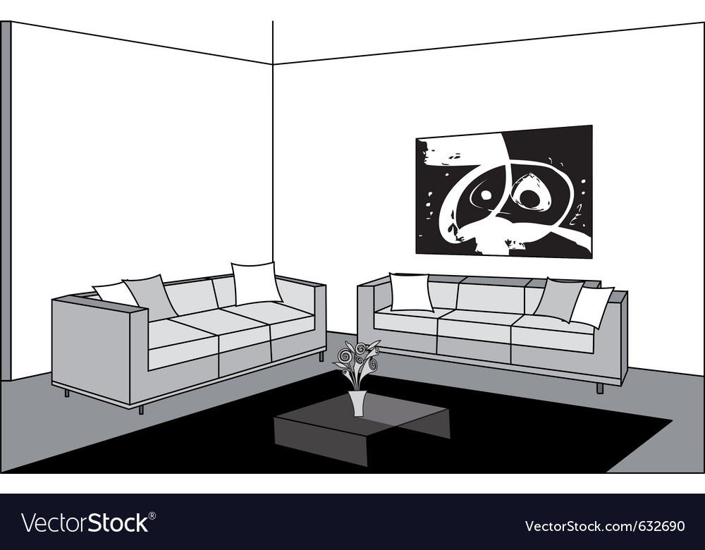 Black and white living room vector | Price: 1 Credit (USD $1)