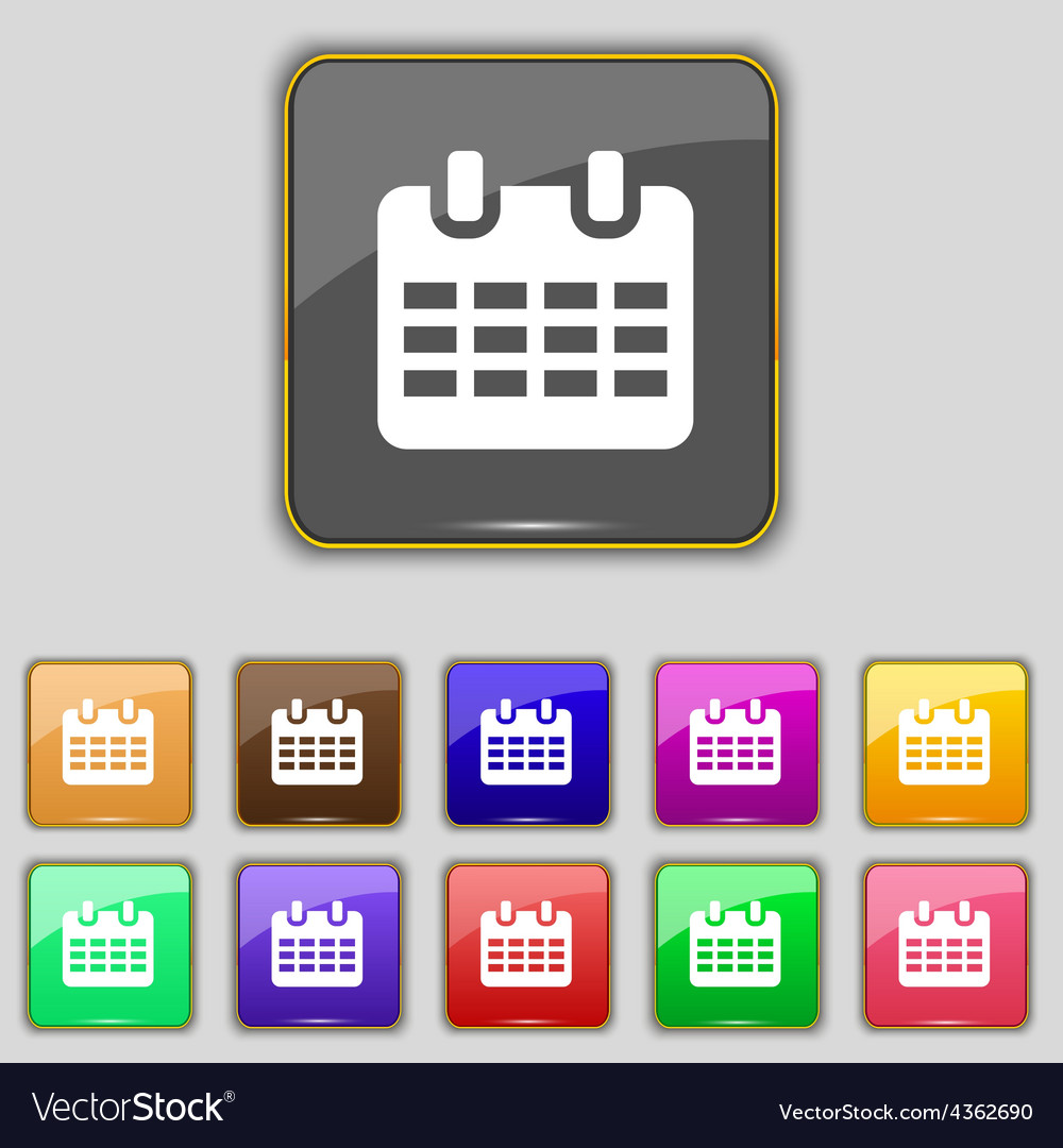 Calendar date or event reminder icon sign set with vector | Price: 1 Credit (USD $1)