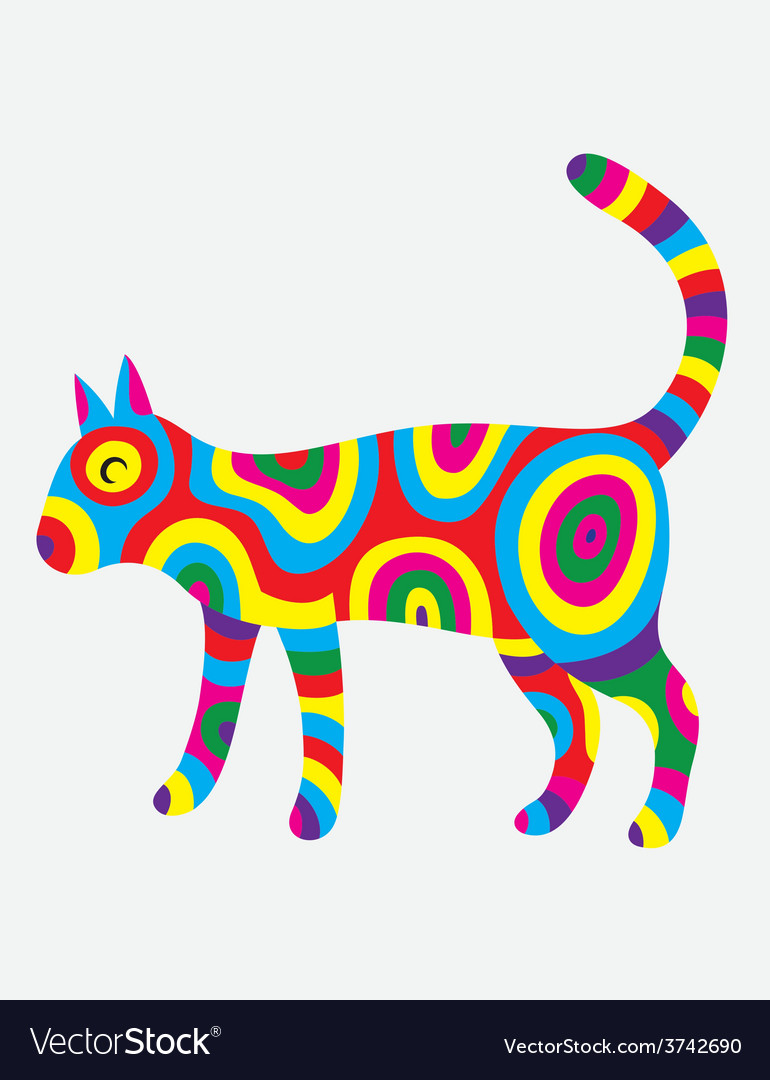 Cat colorfully vector | Price: 1 Credit (USD $1)