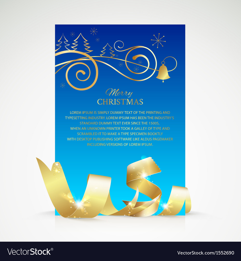 Christmas card with gold ribbon and copy space vector | Price: 1 Credit (USD $1)