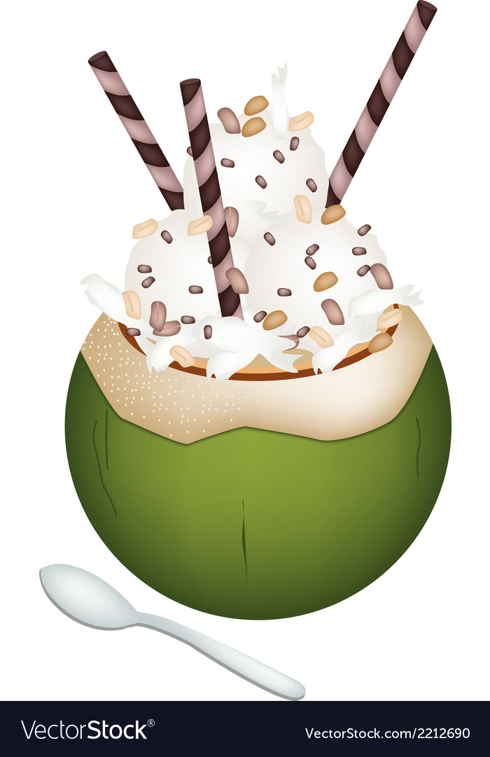 Coconut ice cream with nuts and wafer rolls vector | Price: 1 Credit (USD $1)