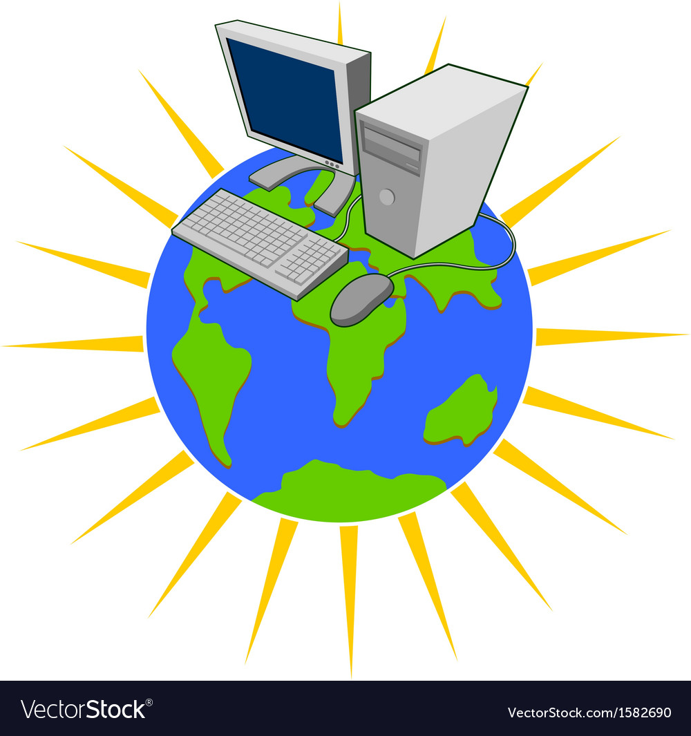 Computer on top of globe vector | Price: 1 Credit (USD $1)