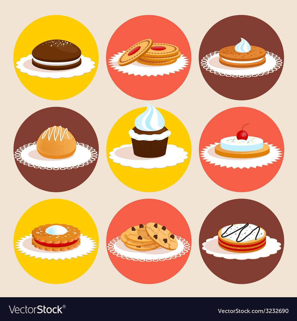 Cookies colored set vector | Price: 1 Credit (USD $1)