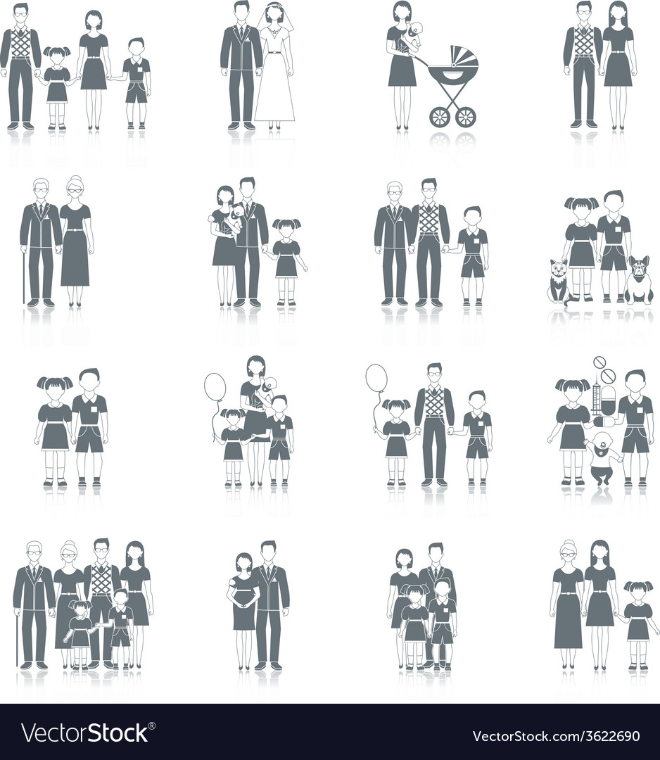 Family icon black vector | Price: 1 Credit (USD $1)