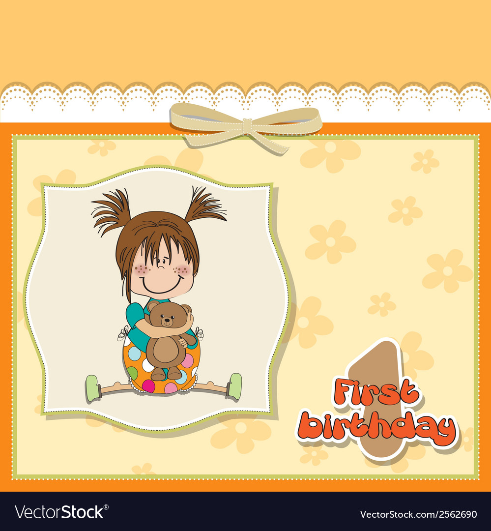 Little girl at her first birthday vector | Price: 1 Credit (USD $1)