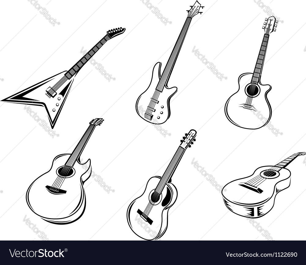 Musical guitars instruments vector | Price: 1 Credit (USD $1)