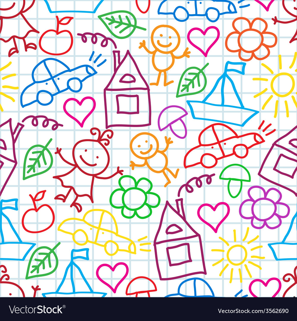 Pattern of childrens drawings vector | Price: 1 Credit (USD $1)