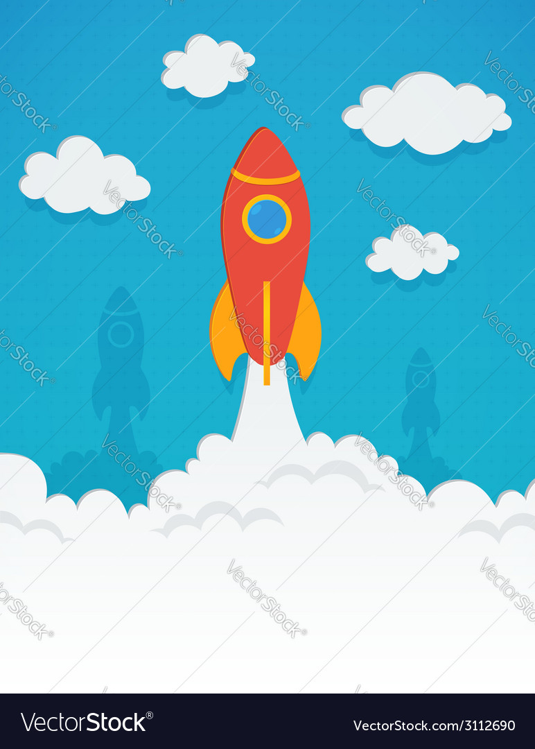 Rocket startup concept in flat style vector   Price: 1 Credit (USD $1)