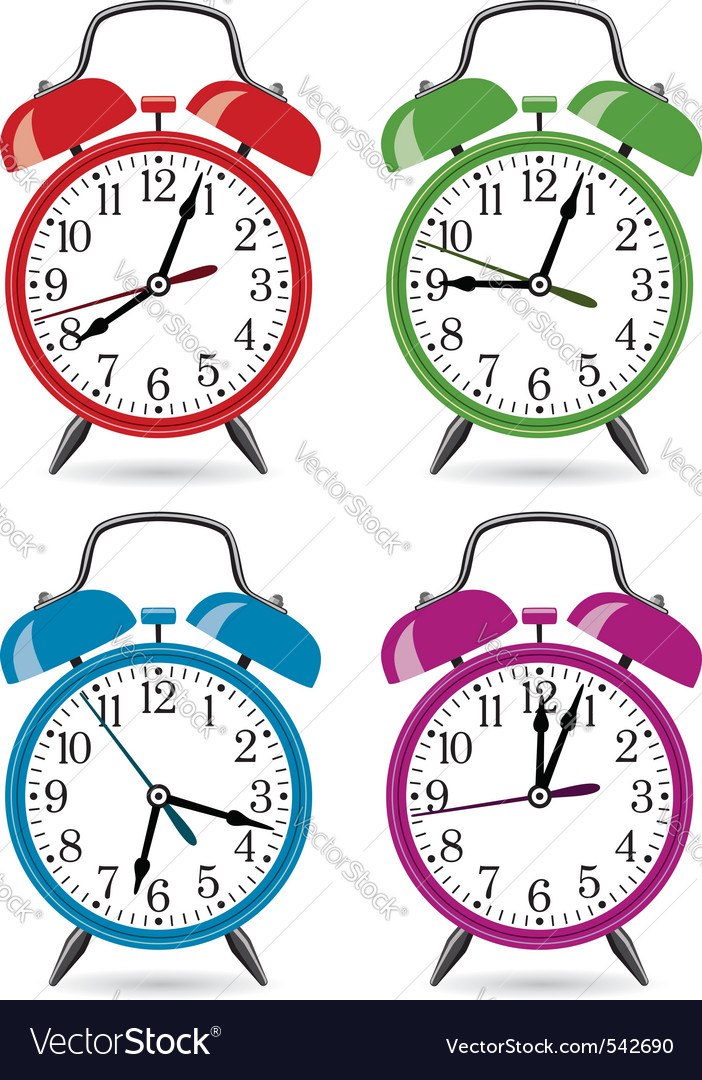 Set of colorful retro alarm clocks vector | Price: 1 Credit (USD $1)