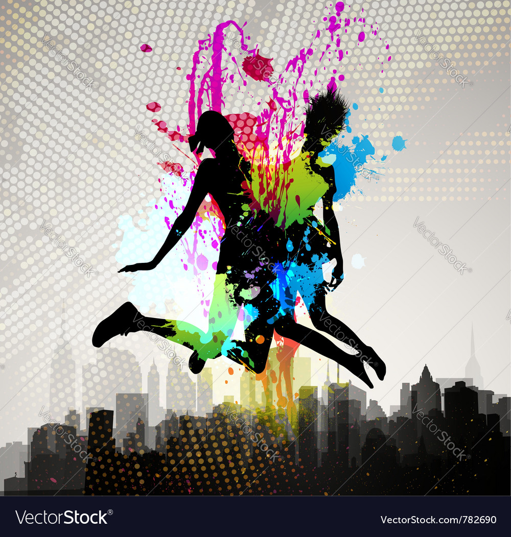 Two girls jumping over city vector | Price: 1 Credit (USD $1)