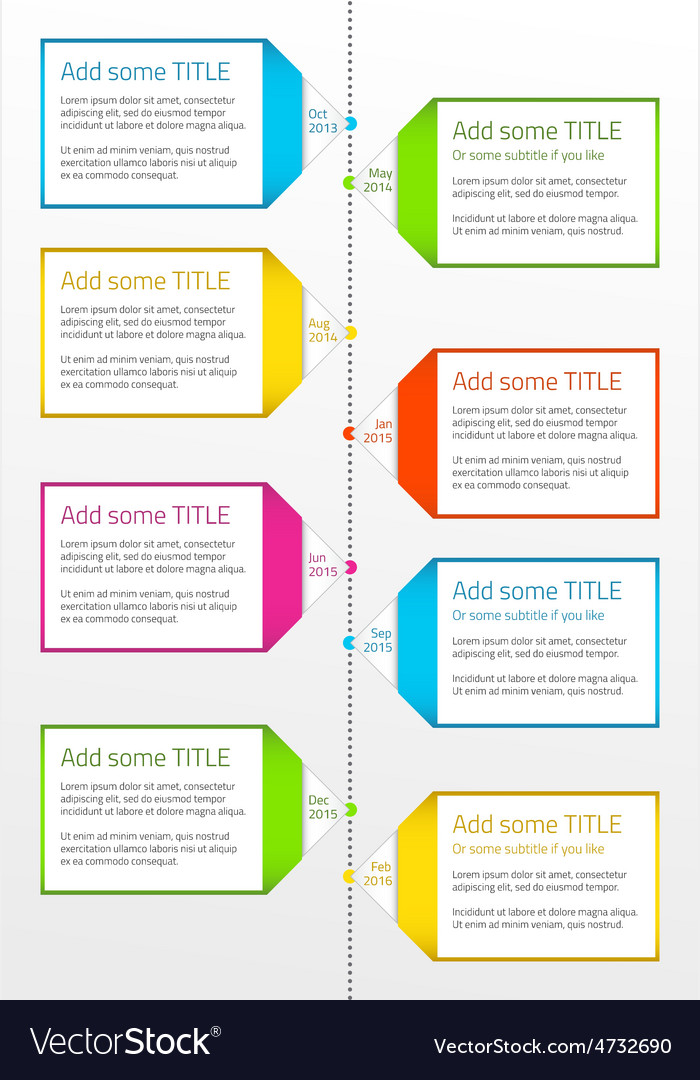Vertical timeline with boxes for large description vector | Price: 1 Credit (USD $1)