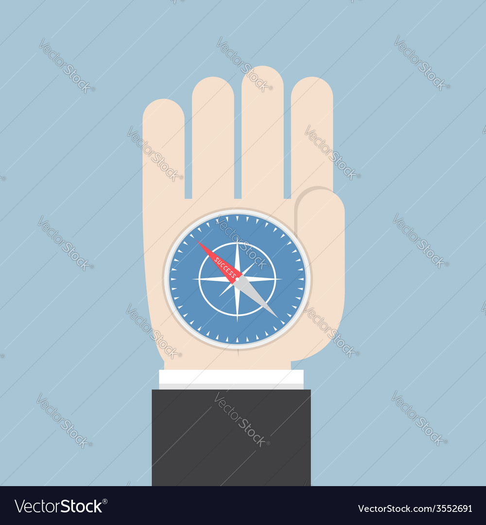 Businessman hand holding a compass that points to vector | Price: 1 Credit (USD $1)