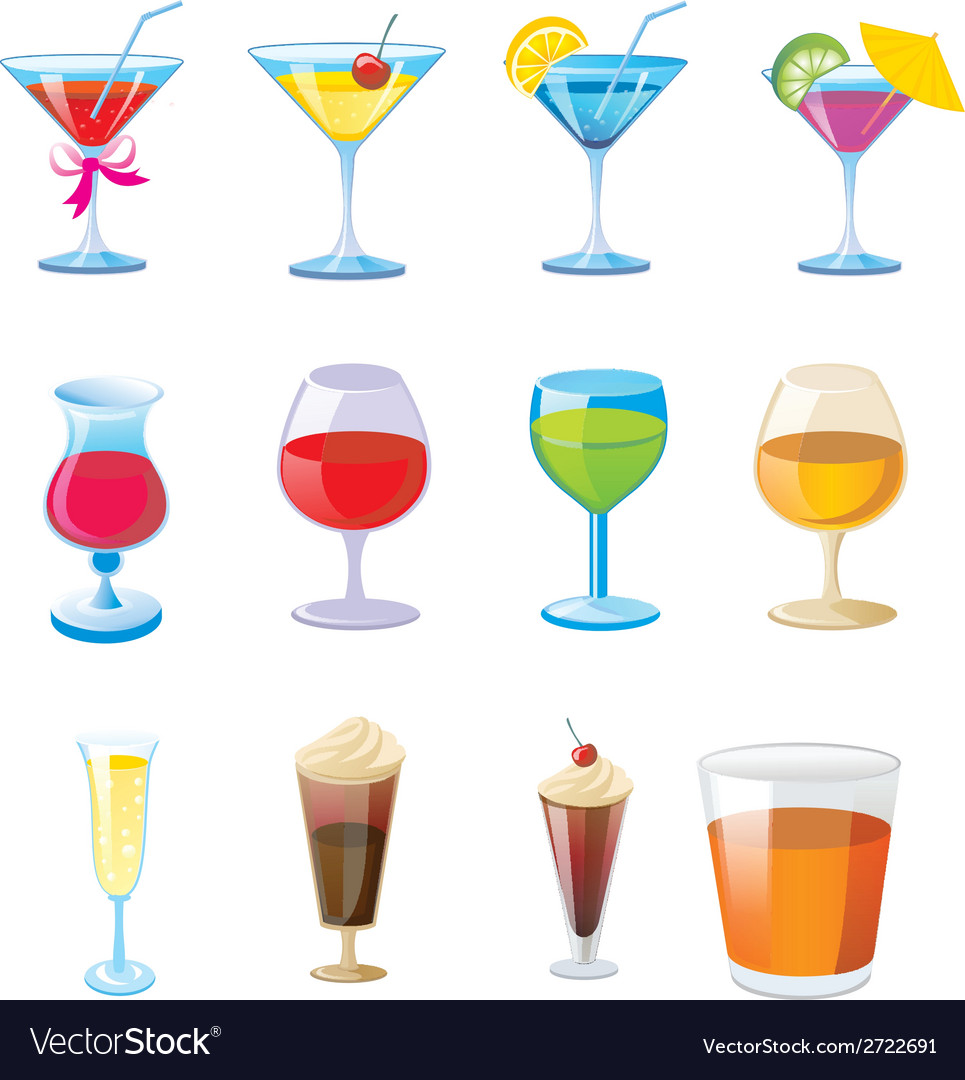 Coctail icons vector | Price: 1 Credit (USD $1)