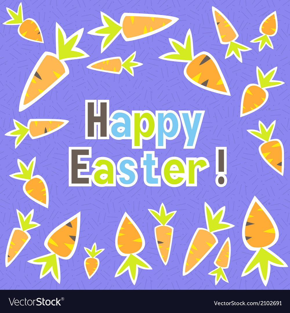 Easter carrots card on a purple vector | Price: 1 Credit (USD $1)