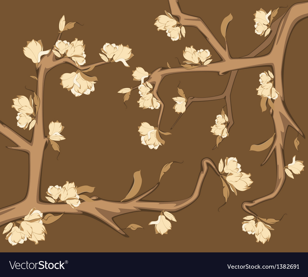 Flowers on a branch vector | Price: 1 Credit (USD $1)