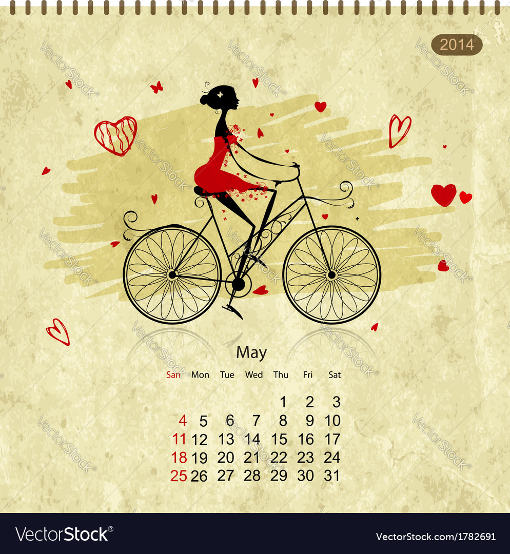 Girls retro calendar 2014 for your design may vector | Price: 1 Credit (USD $1)