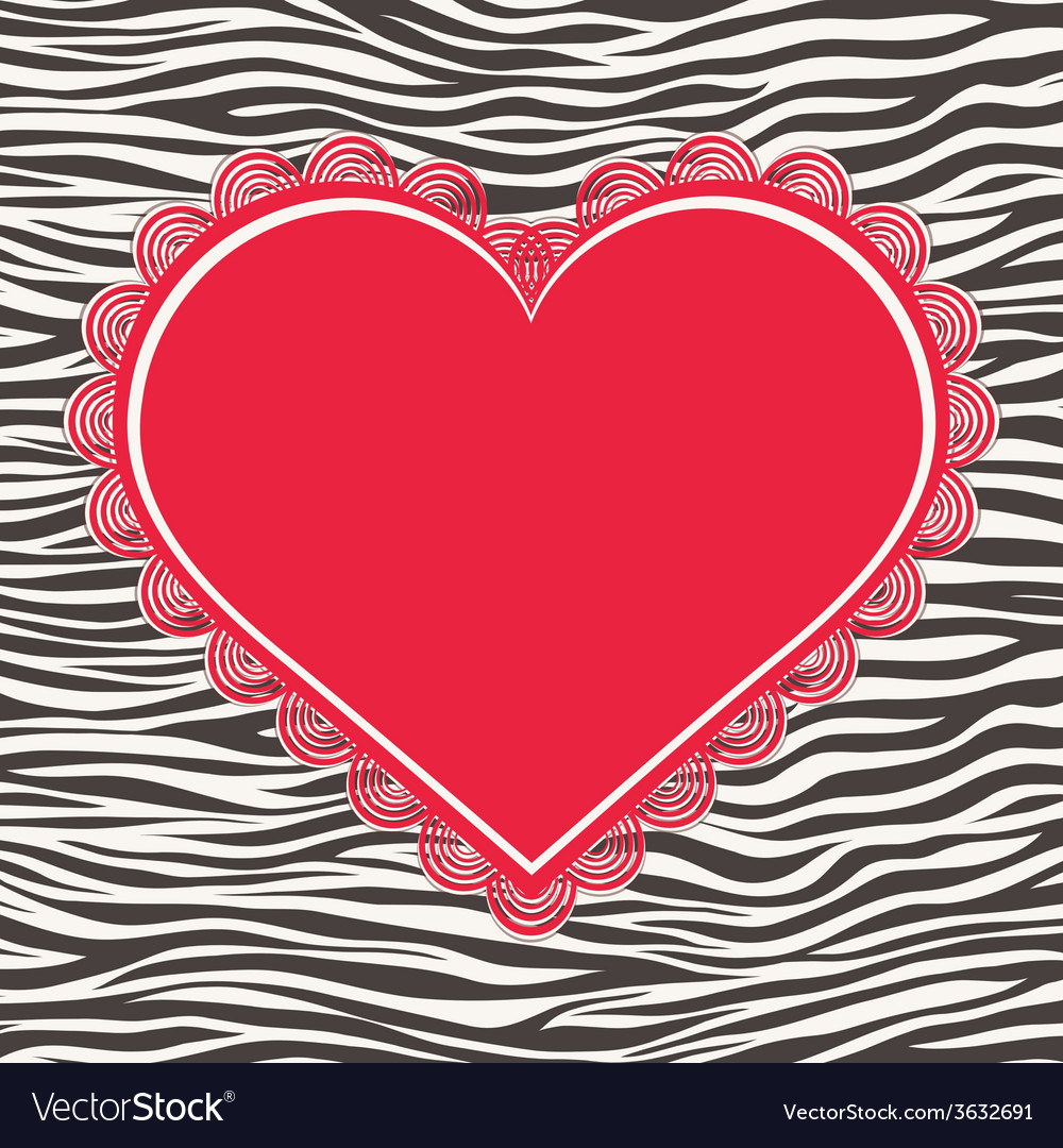 Greeting card with zebra texture and heart vector | Price: 1 Credit (USD $1)
