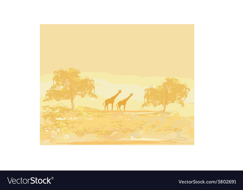 Grunge background with giraffe silhouette on vector | Price: 1 Credit (USD $1)