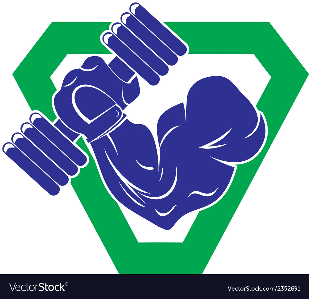 Hand bodybuilder with a large dumbbells vector | Price: 1 Credit (USD $1)