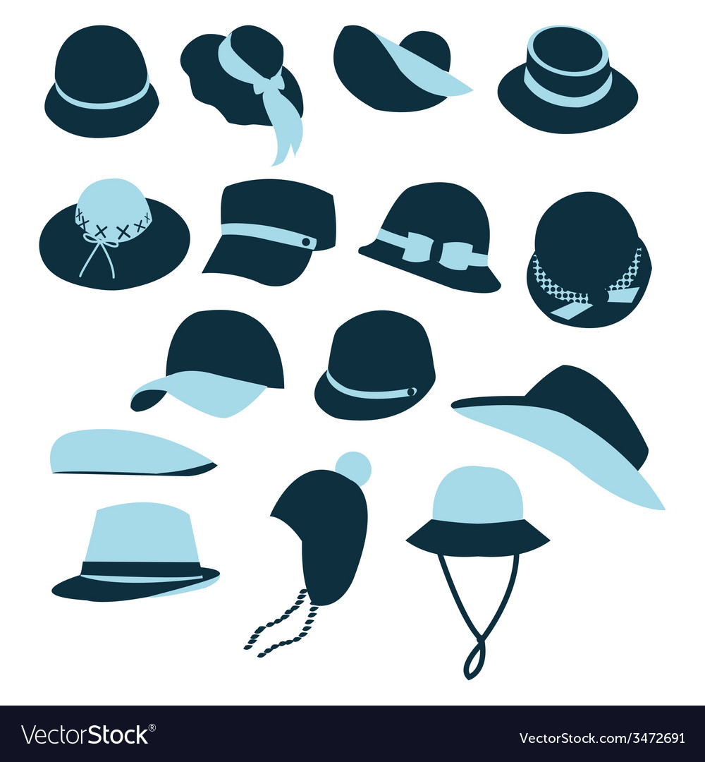 Icon set of hats black silhouette vector | Price: 1 Credit (USD $1)