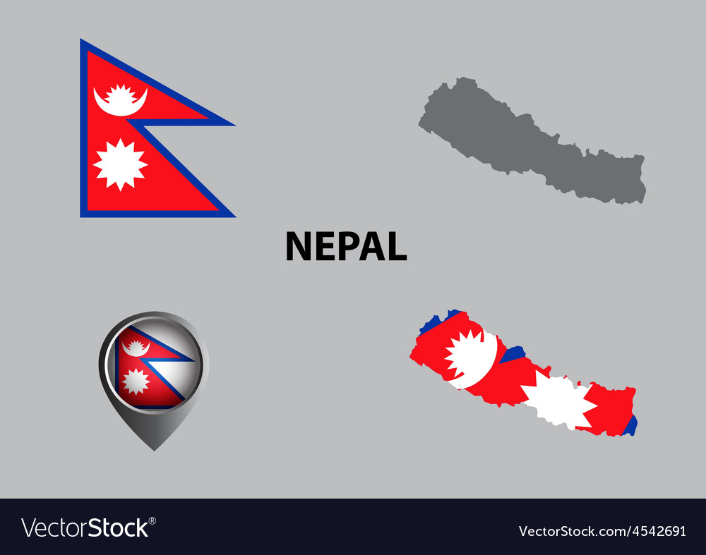 Map of nepal and symbol vector | Price: 1 Credit (USD $1)