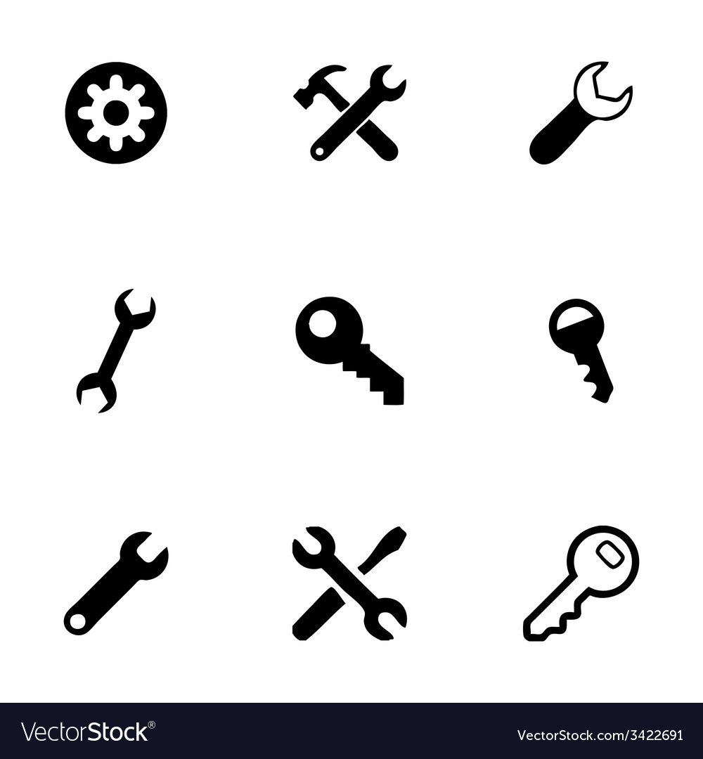 Settings wrench icons set vector | Price: 1 Credit (USD $1)