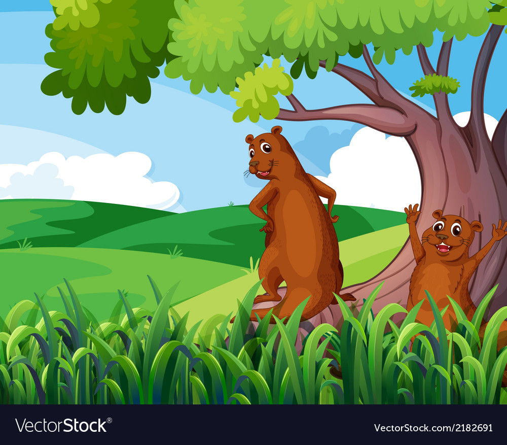 Wild animals under the tree vector | Price: 1 Credit (USD $1)