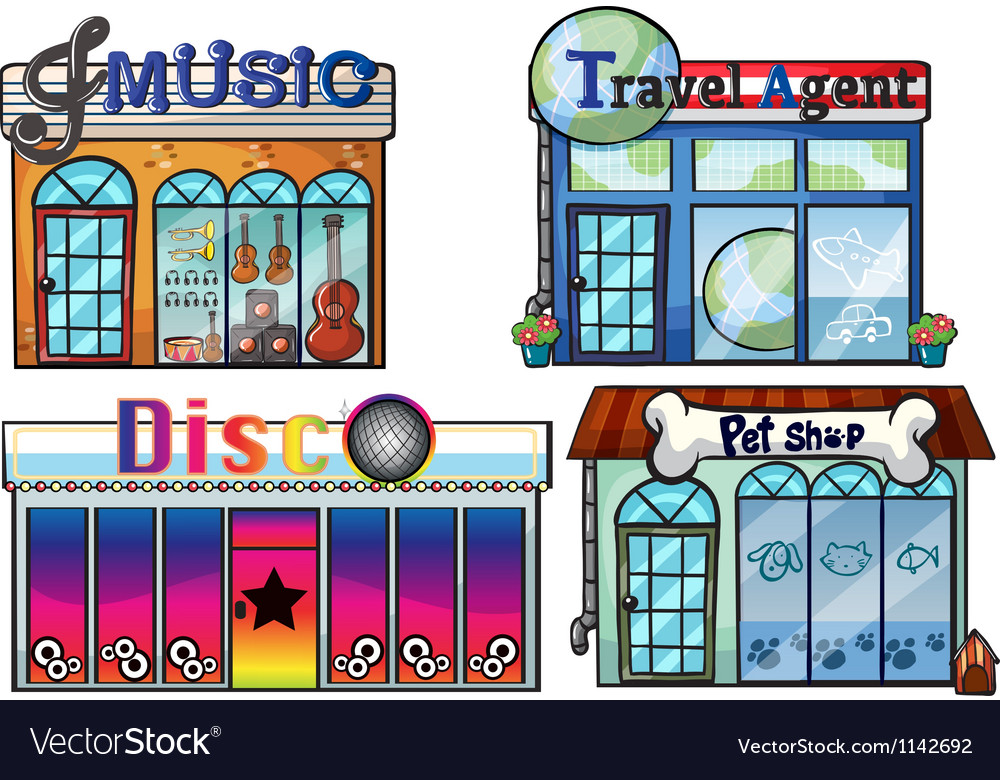 A musical store travel agent office disco house vector | Price: 1 Credit (USD $1)