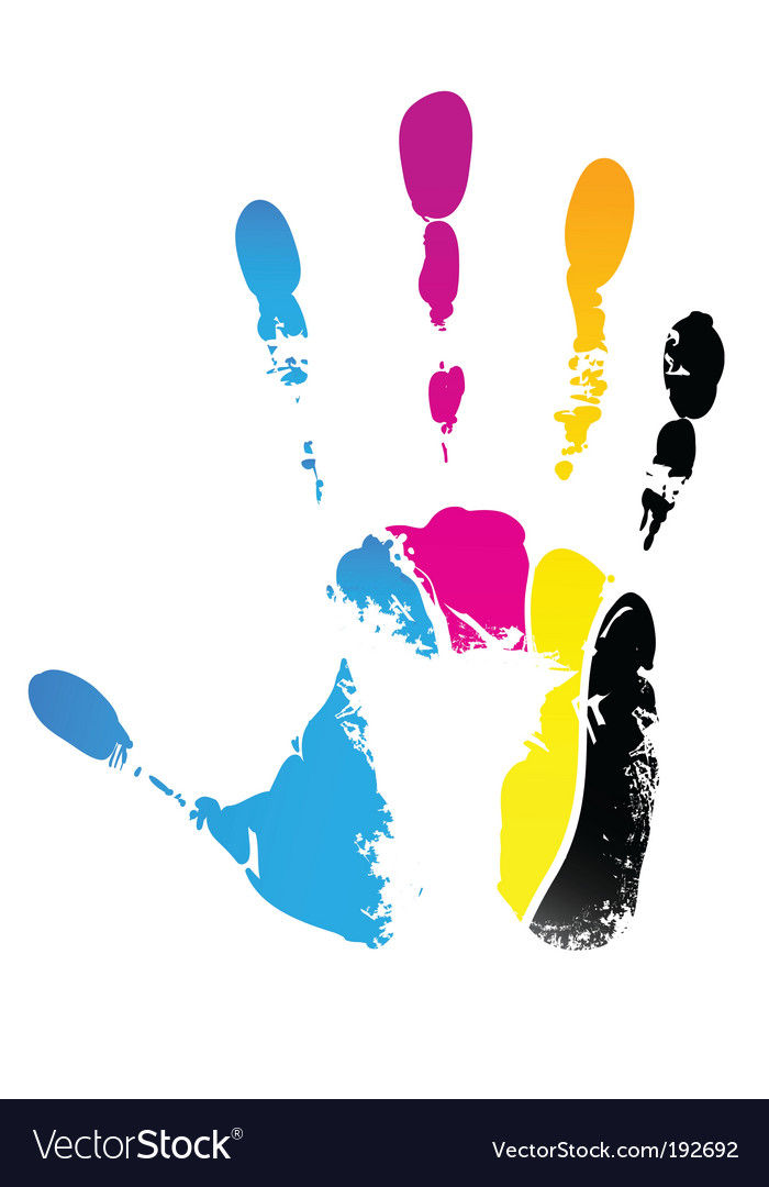 Cmyk handprint vector | Price: 1 Credit (USD $1)