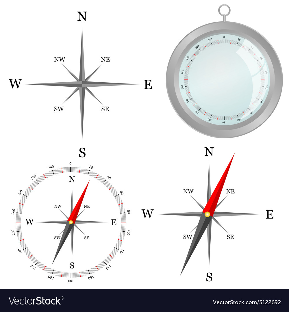 Compass in silver color in part vector | Price: 1 Credit (USD $1)