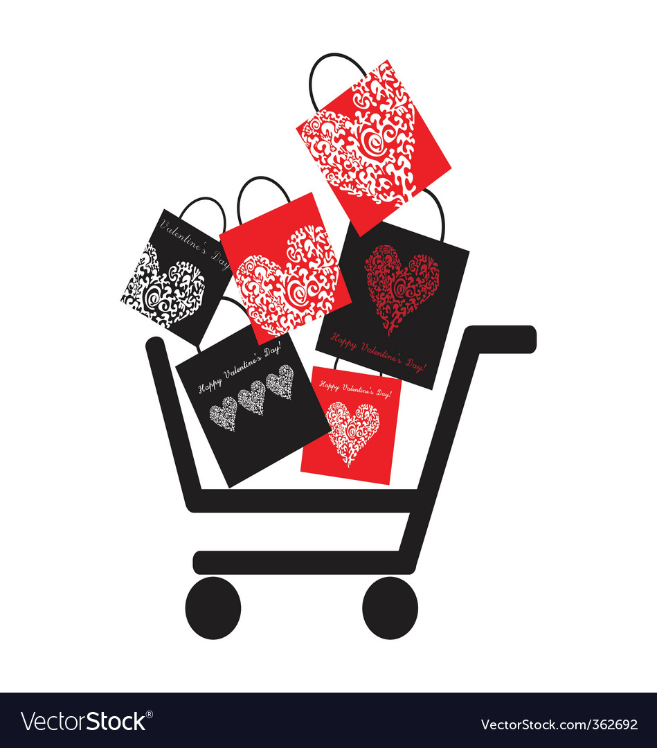Consumer basket with many bags vector | Price: 1 Credit (USD $1)