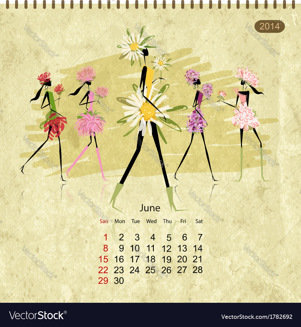 Girls retro calendar 2014 for your design vector | Price: 1 Credit (USD $1)