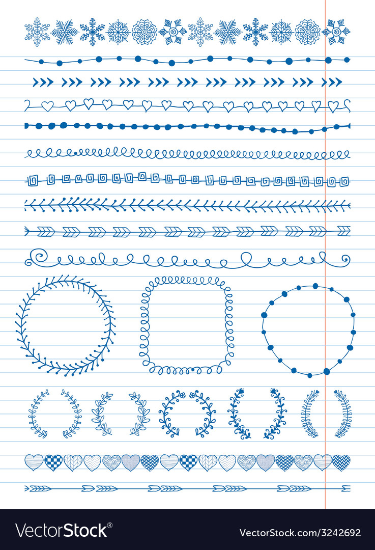 Hand-drawn seamless borders and design elements vector | Price: 1 Credit (USD $1)
