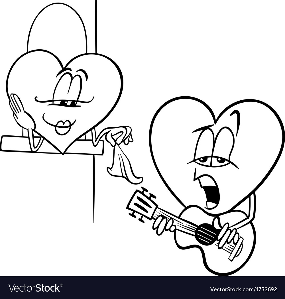 Heart love song cartoon coloring page vector | Price: 1 Credit (USD $1)