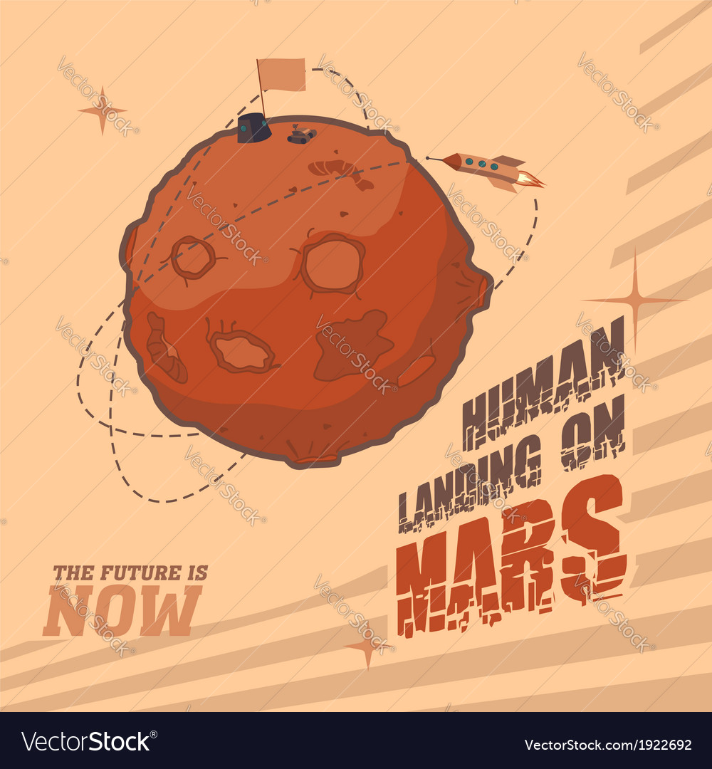 Human landing on mars vector | Price: 3 Credit (USD $3)
