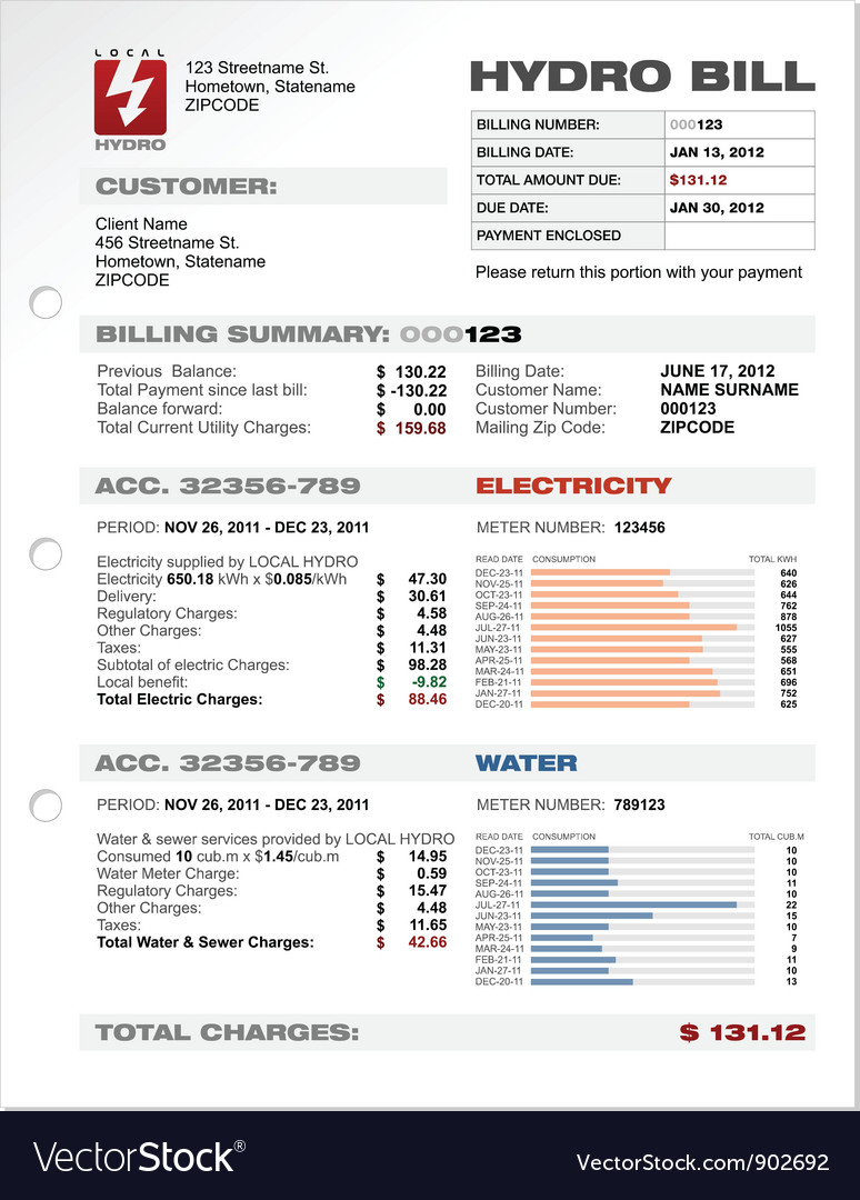 Hydro electricity bill blank vector | Price: 1 Credit (USD $1)