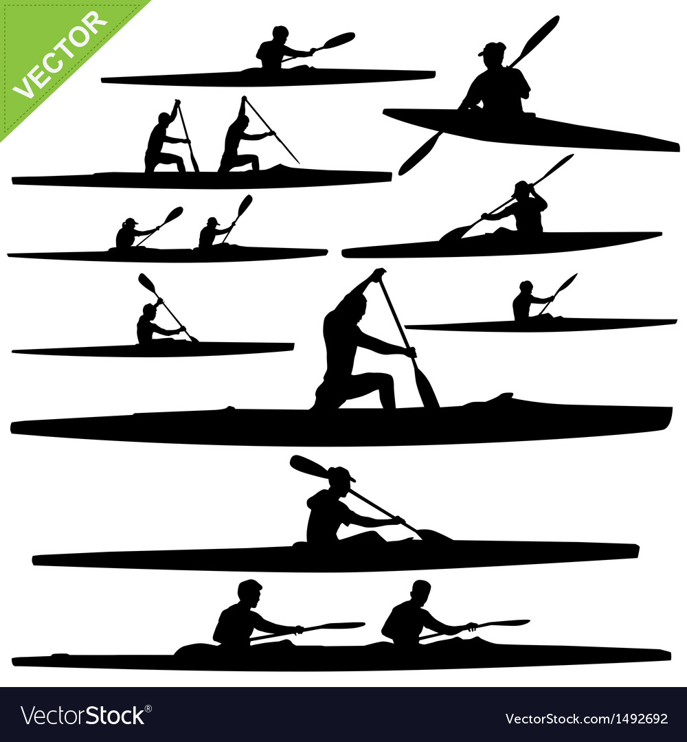 Kayaking silhouettes vector | Price: 1 Credit (USD $1)