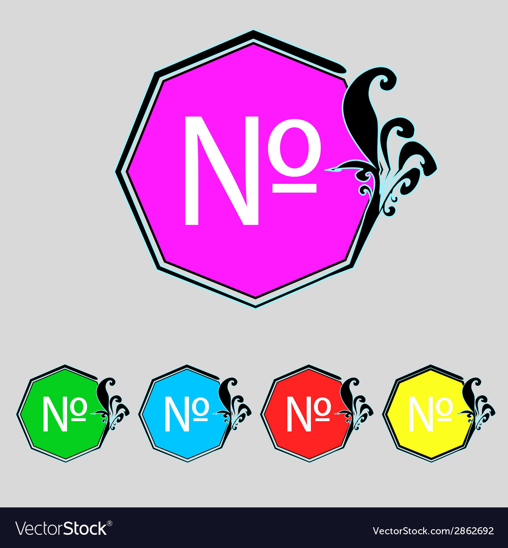 Number icon flat modern set colourful web buttons vector | Price: 1 Credit (USD $1)