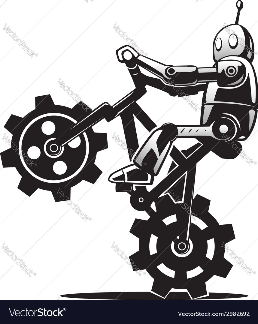 Robot on bicycle vector | Price: 1 Credit (USD $1)