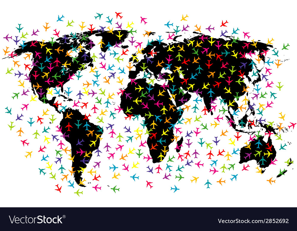 World map airline flights vector | Price: 1 Credit (USD $1)