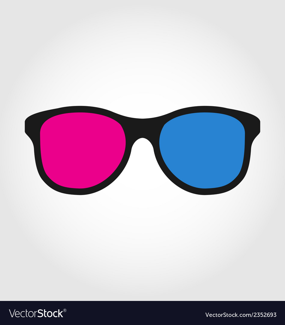 3d glasses red and blue on white background vector | Price: 1 Credit (USD $1)