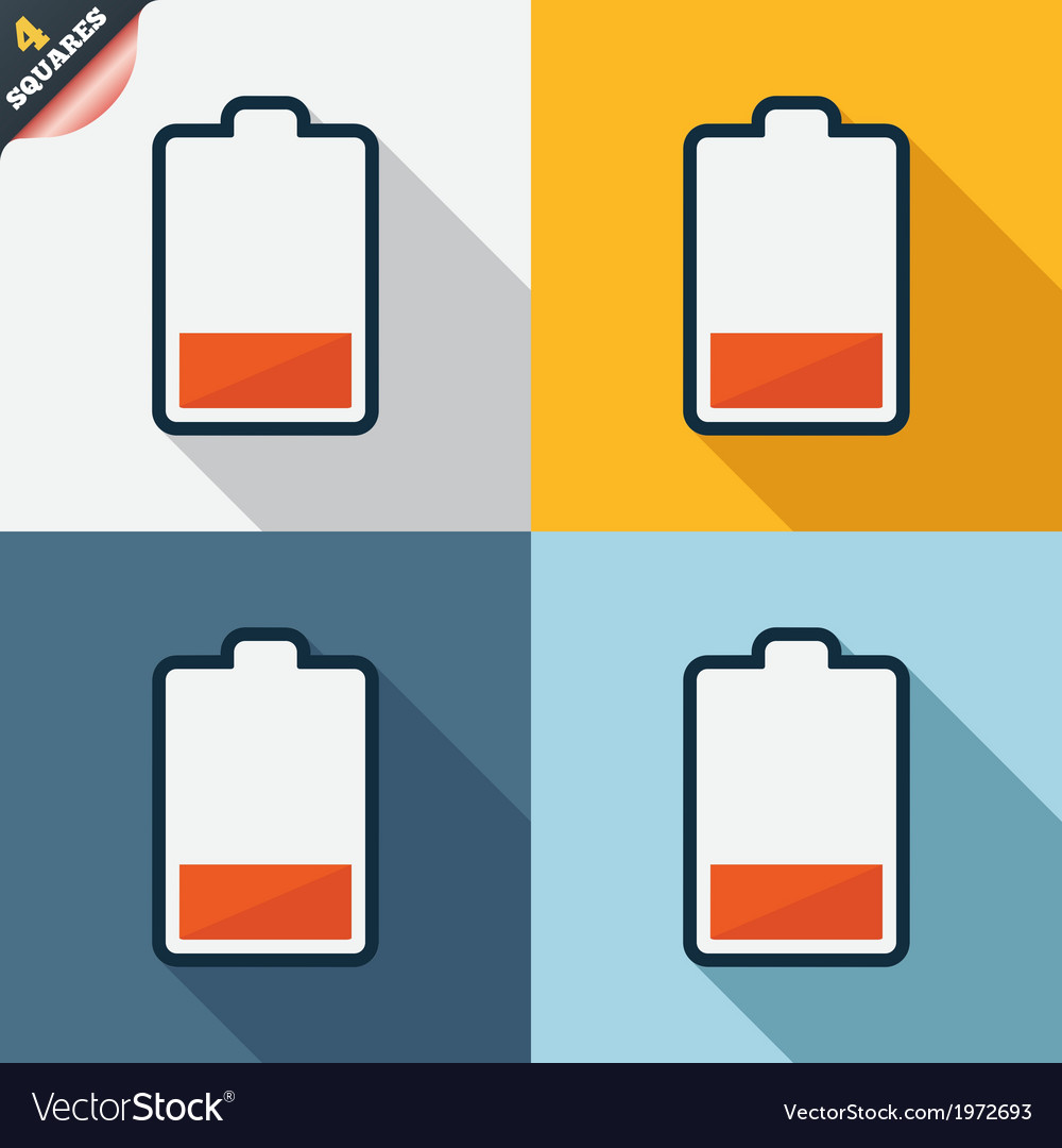 Battery low level sign icon electricity symbol vector | Price: 1 Credit (USD $1)