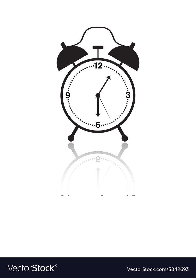 Black and white alarm clock icon vector | Price: 1 Credit (USD $1)