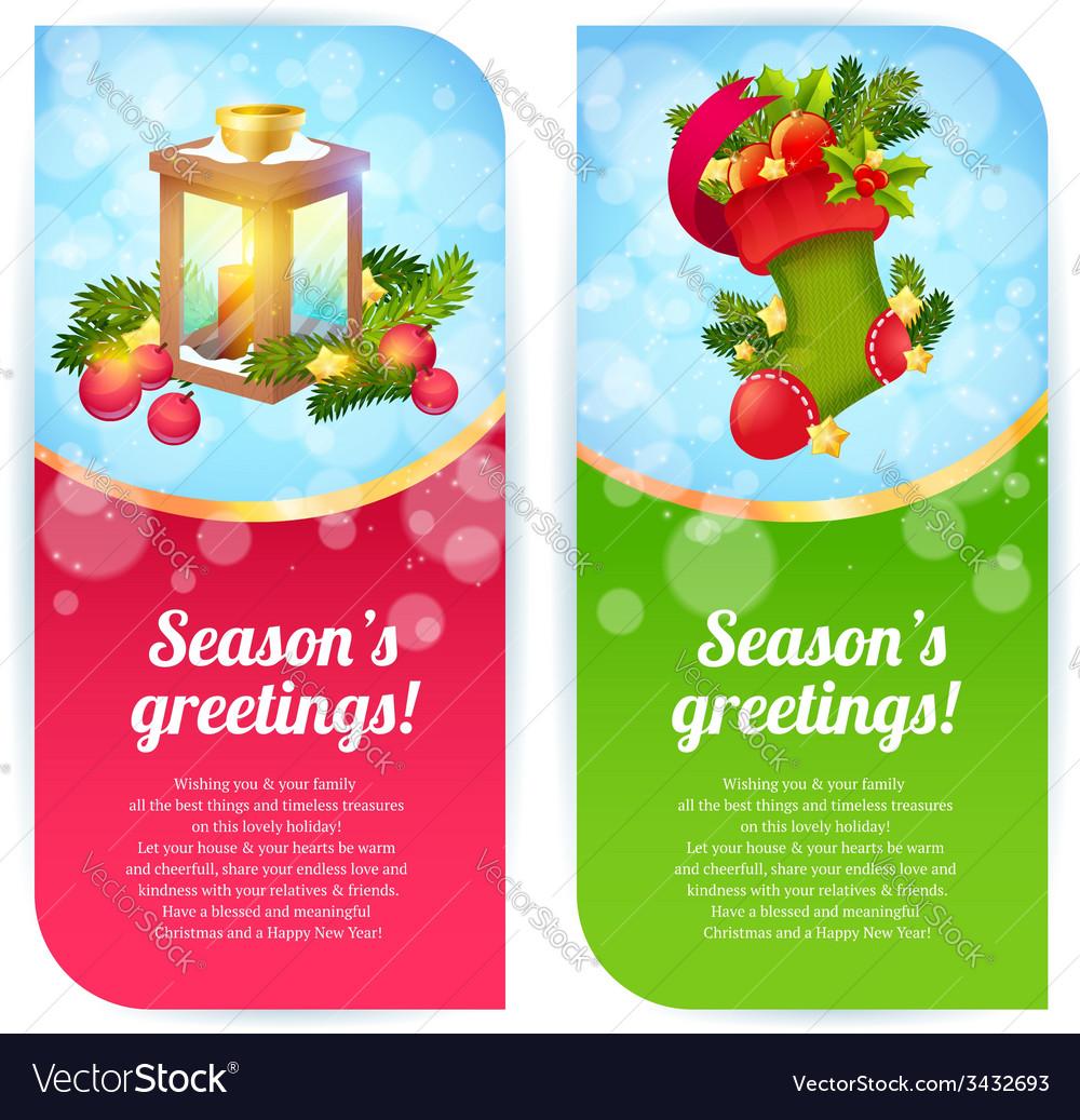 Christmas congratulation banners vector