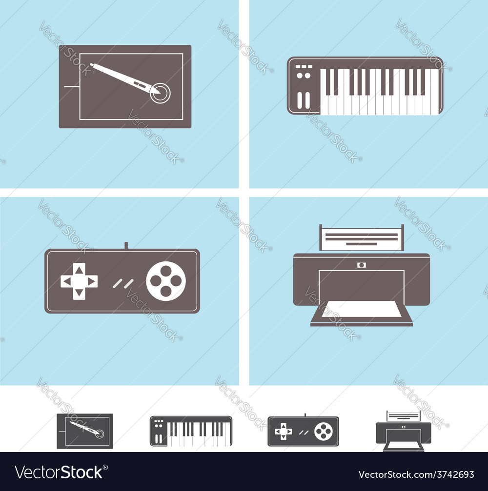 Computer peripheral devices icons vector | Price: 1 Credit (USD $1)