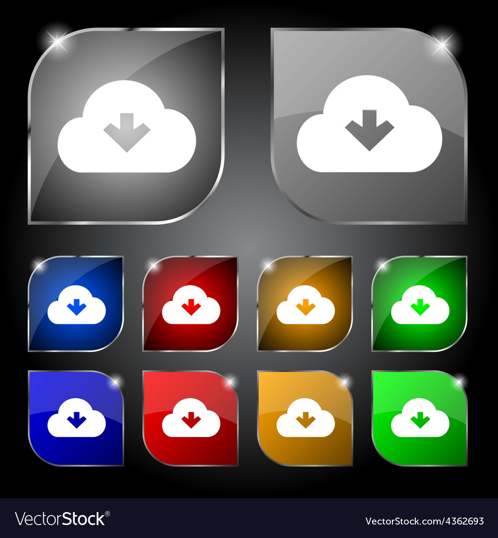Download from cloud icon sign set of ten colorful vector | Price: 1 Credit (USD $1)