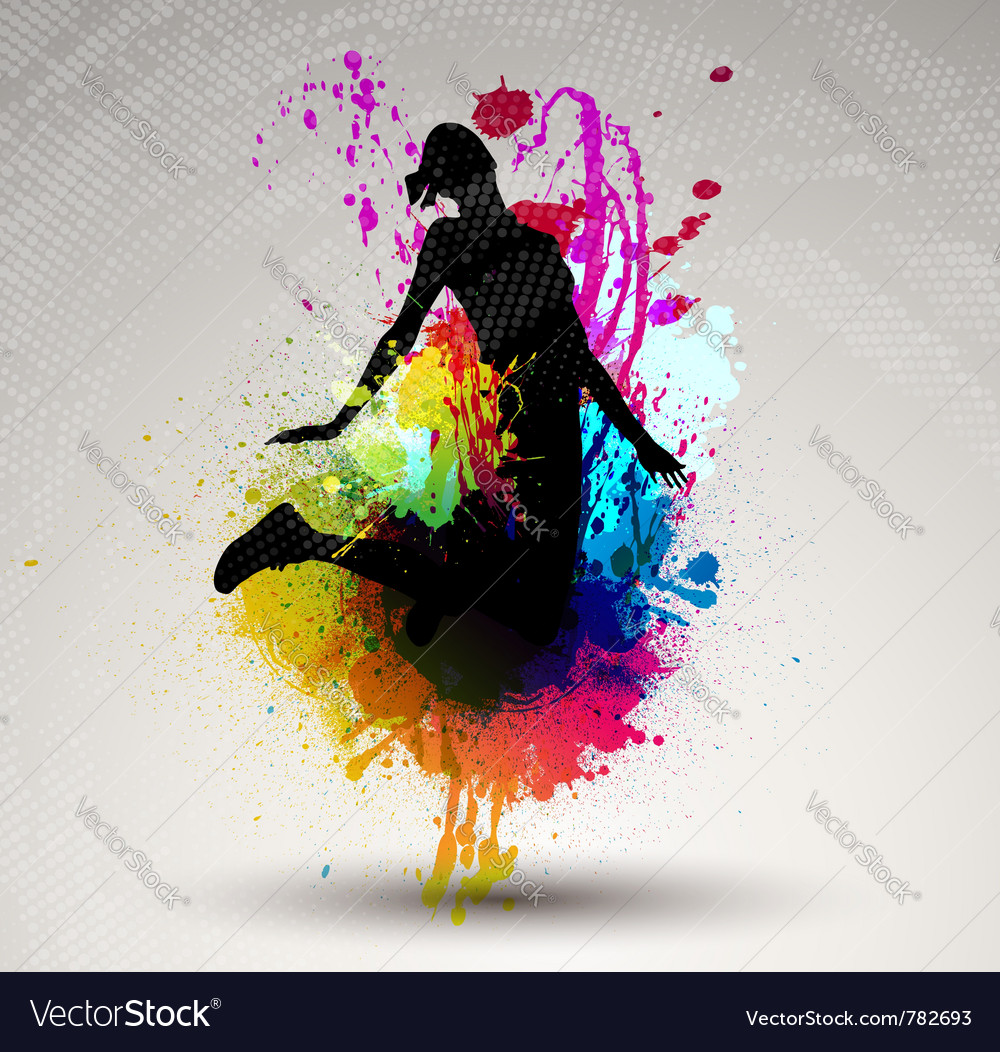 Girl jumping over ink splash vector | Price: 1 Credit (USD $1)