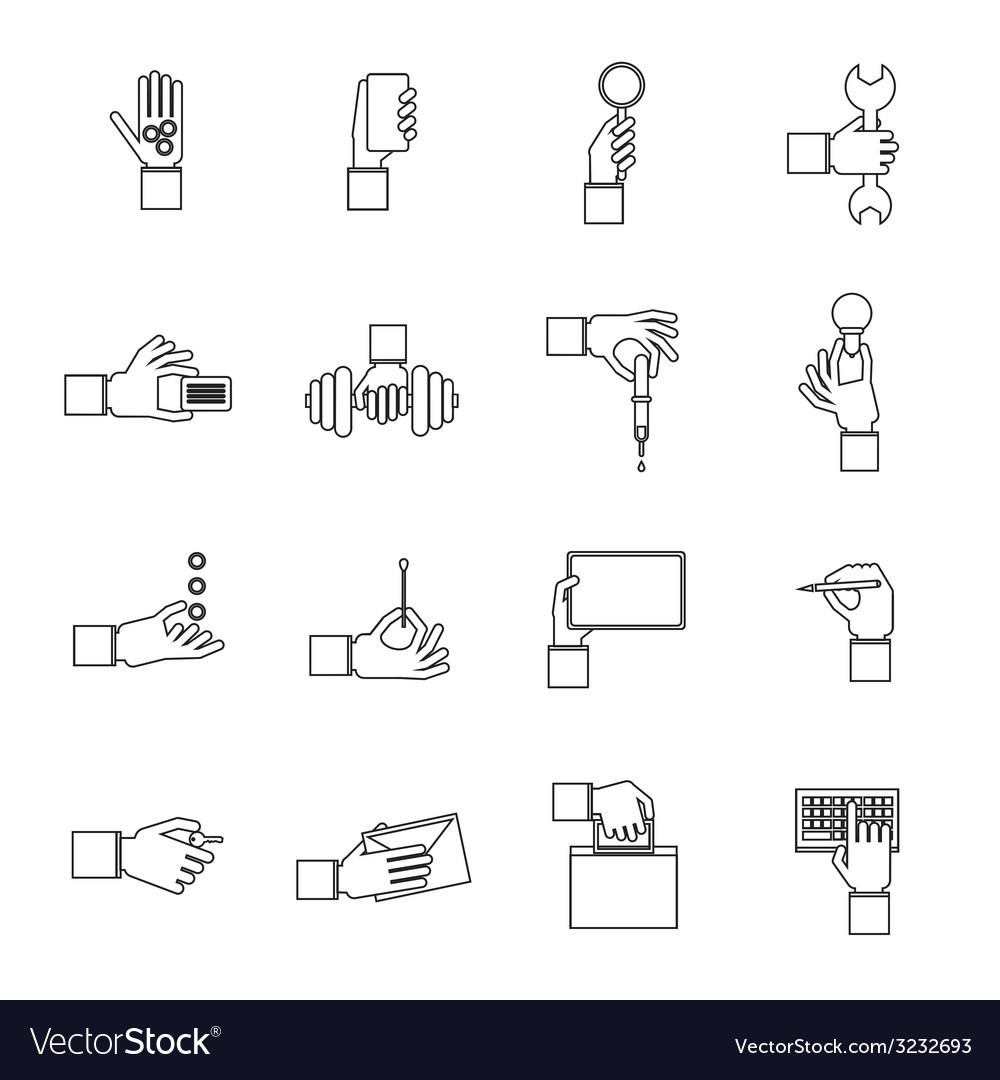 Hand holding objects outline set vector | Price: 1 Credit (USD $1)