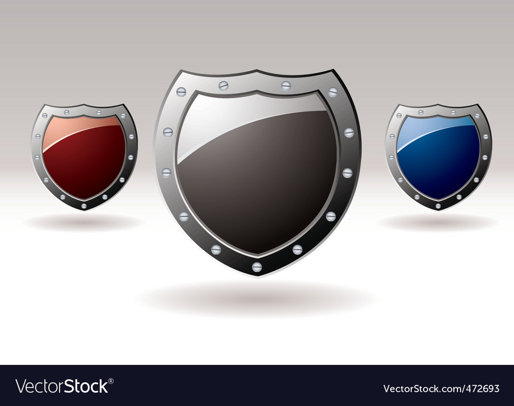 Metal shield icons vector | Price: 1 Credit (USD $1)