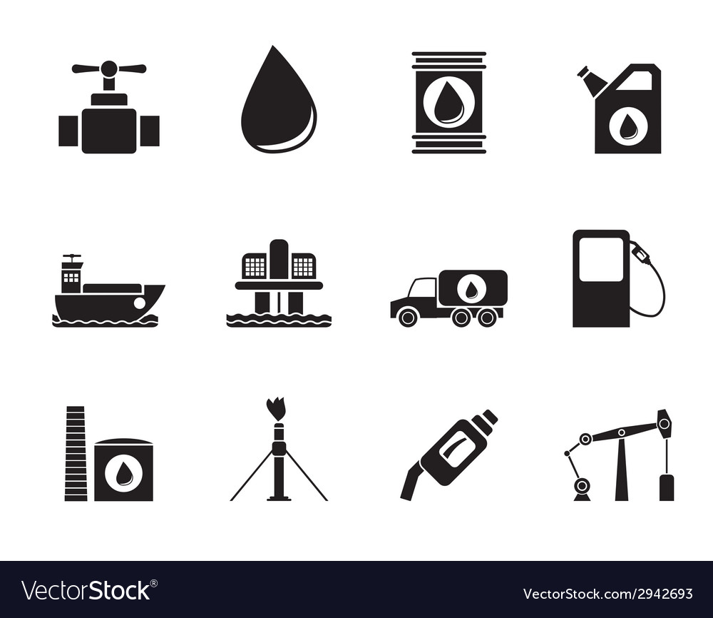 Silhouette oil and petrol industry objects icons vector | Price: 1 Credit (USD $1)